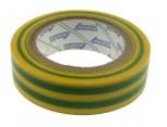 Elektroizolační páska samolepící PVC, 15mm x 10m, barva žluto-zelená.