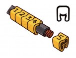 """Návlečka na vodič, průřez 0,2-1,5mm2 / délka 3mm, s potiskem """"E"""", žlutá"""