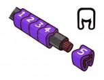 """Návlečka na vodič, průřez 0,2-1,5mm2 / délka 3mm, s potiskem """"7"""", fialová"""