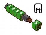 """Návlečka na vodič, průřez 1,5-4,0mm2 / délka 3mm, s potiskem """"5"""", zelená"""