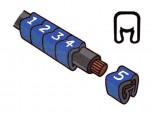 """Návlečka na vodič, průřez 1,5-4,0mm2 / délka 3mm, s potiskem """"-"""", modrá cívka"""