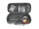Ráčnové nůžky na kabely a vodiče v sadě, s výměnnými čelistmi pro různé materiály.