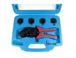 Kufřík s lisovacími zahnutými kleštěmi LKZ a sadou 5-ti lisovacích čelistí